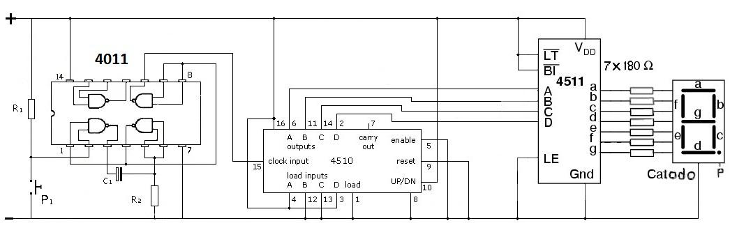 Schemi Elettrici Con Contattori : Sezione esperimenti contatore con display a segmenti
